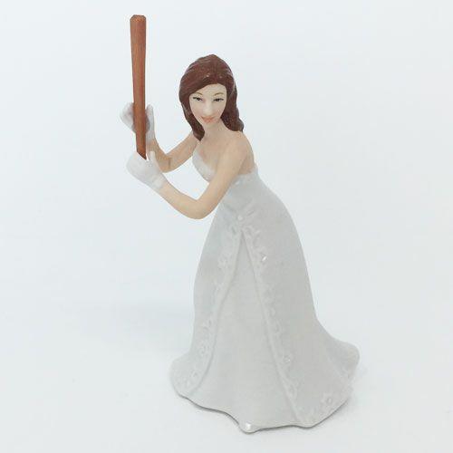 ケーキトッパー 野球 新婦の髪の色 ライトブラウン