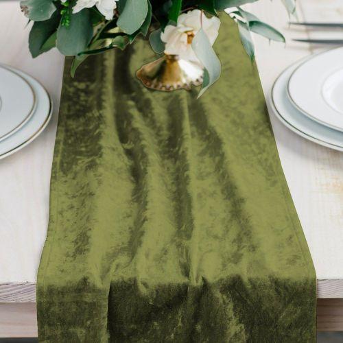 ベルベットのテーブルランナー 緑