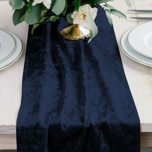 ベルベットのテーブルランナー ネイビーブルー