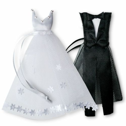 チュールの袋 タキシードとウエディングドレス